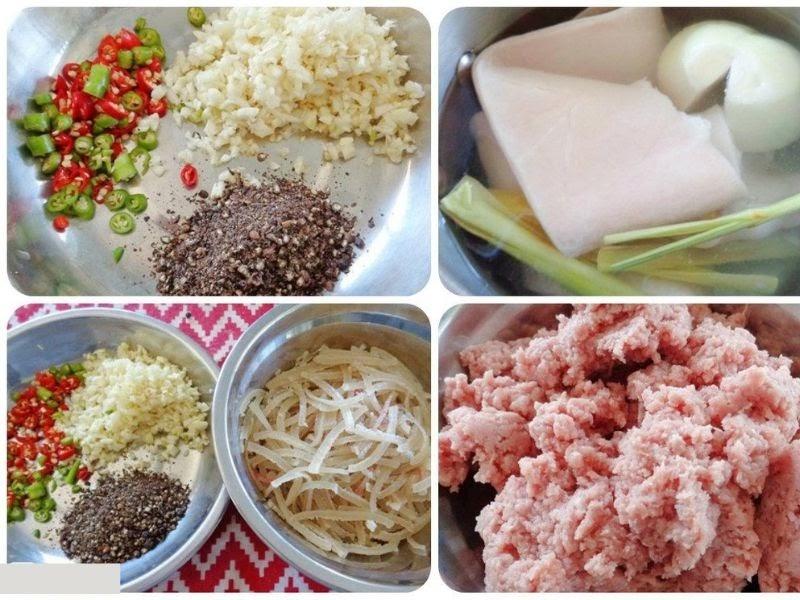 Các nguyên liệu để làm nem chua rán